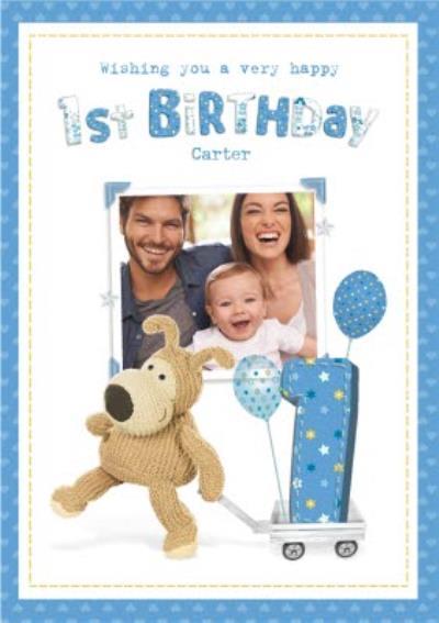 Cute 1st Birthday Photo Upload Boofle Card