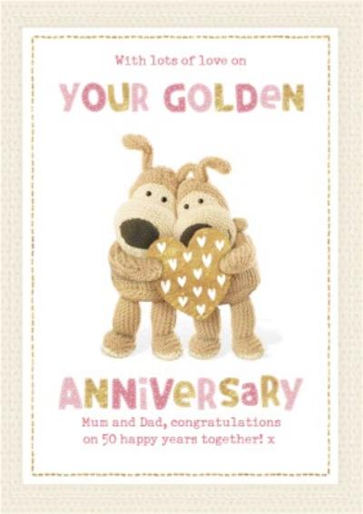 Boofle cute sentimental 50th Golden Anniversary card for Mum and Dad