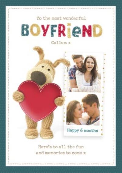 Boofle cute sentimental Boyfriend 6 month Anniversary photo upload card