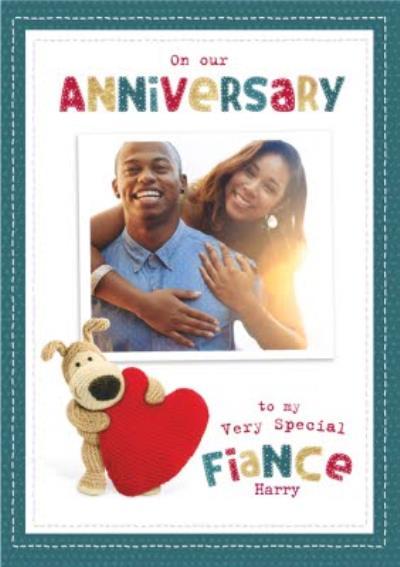 Boofle cute sentimental Fiance Anniversary photo upload card