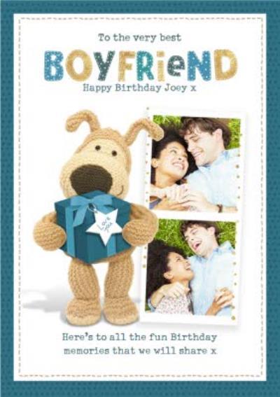 Boofle cute sentimental Best Boyfriend Birthday photo upload card
