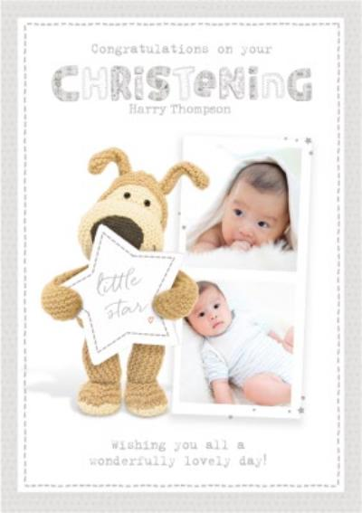 Cute Photo Upload Boofle Christening Card