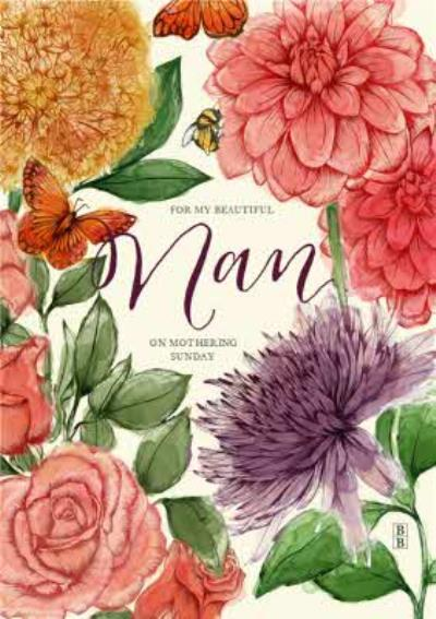 Watercolour Flowers Grandma Mothers Day Card