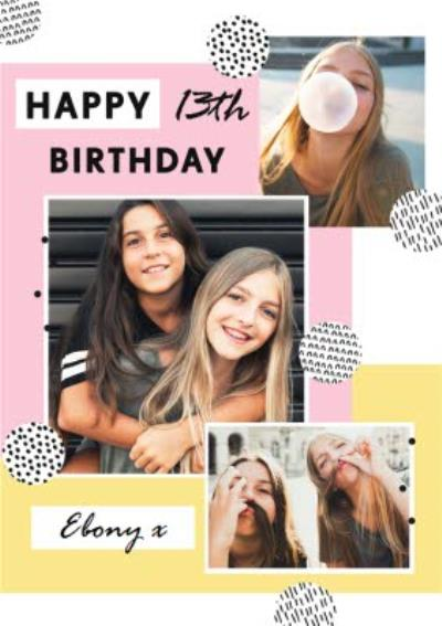 Happy 13th Birthday Multi Photo Upload Card