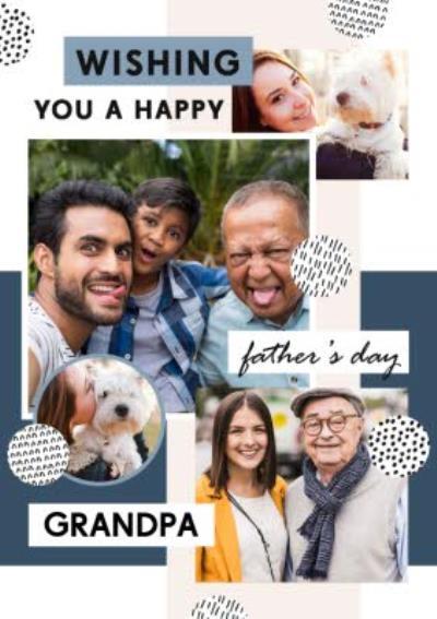Modern Happy Father's Day Grandpa Photo Upload Card