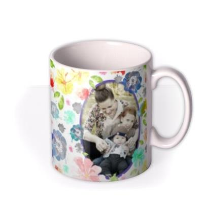 Mother's Day Watercolour Flowers Photo Upload Mug