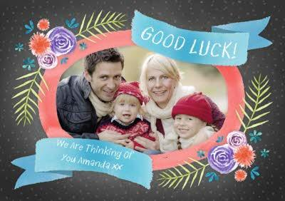 Floral Frame Personalised Photo Upload Good Luck Card