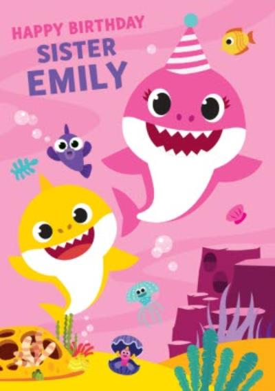 Baby Shark song kids Sister Happy Birthday card