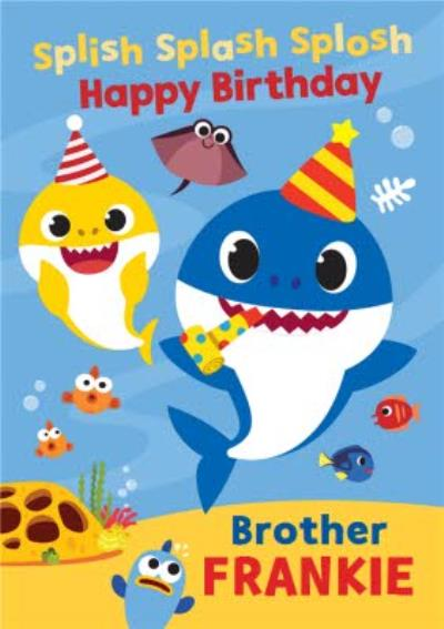 Baby Shark song kids Brother Happy Birthday card