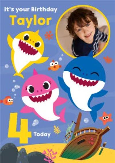 Baby Shark song kids 4 today Photo Upload Birthday card