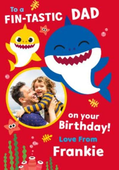Baby Shark song kids Daddy Photo Upload Birthday card