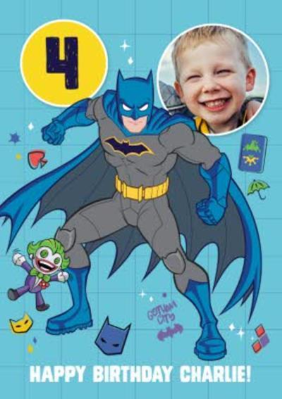 Batman Kids Age 4 Photo Upload Birthday Card
