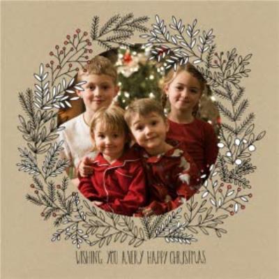 Botany Wishing Merry Christmas Photo Upload Card