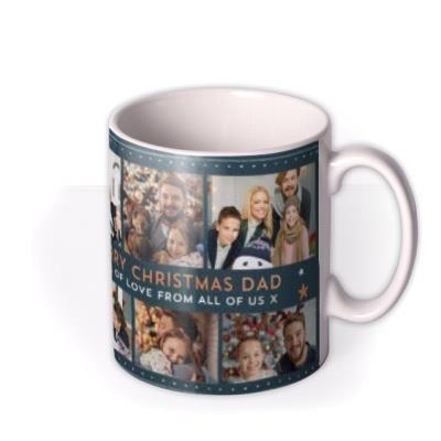 Multi Photo Upload Stars Christmas Mug For Dad