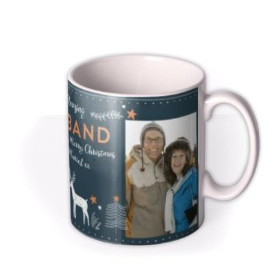 Multi Photo Upload Stars And Reindeers Christmas Mug For Husband