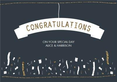 Navy Gold And White Confetti Personalised Wedding Day Card