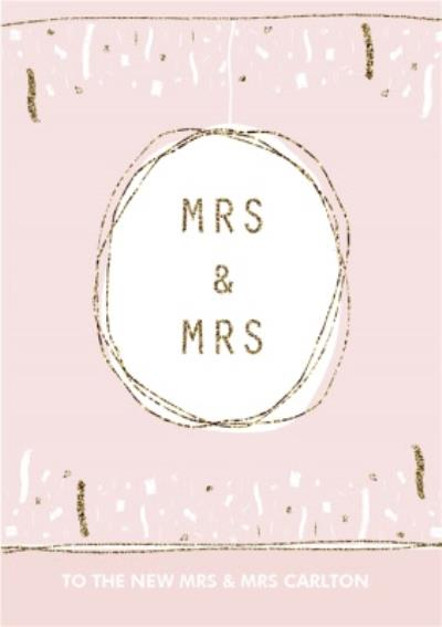 Pink And Gold Confetti Mrs And Mrs Personalised Wedding Card