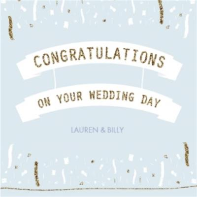 Blue And Gold Streamers Personalised Wedding Day Card