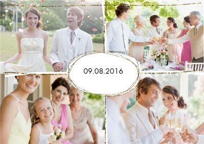 Glittering Border Multi-Photo Save The Date Card