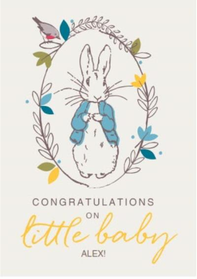 PERSONALISED GREETINGS CARD BEATRIX POTTER PETER RABBIT FIRST DAY AT SCHOOL