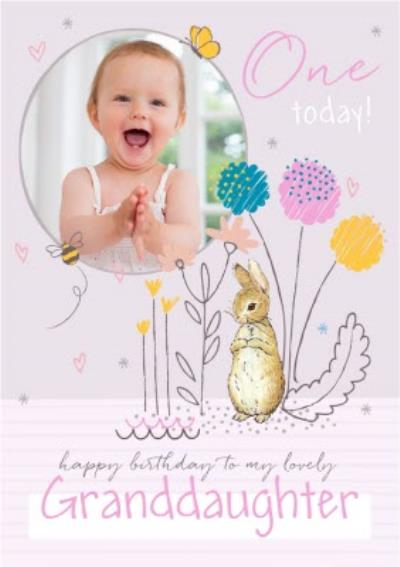 Peter Rabbit Granddaughter 1st Birthday Photo Upload Card