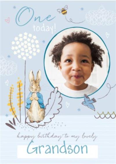 Peter Rabbit Grandson 1st Birthday Photo Upload Card