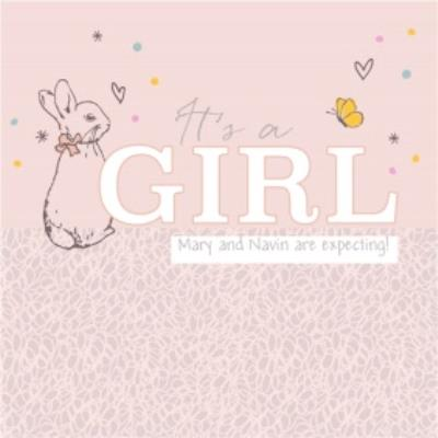 Peter Rabbit Gender Reveal It's a Girl Card