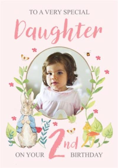 Peter Rabbit Very Special Daughter Floral 2nd Birthday Photo Upload Card