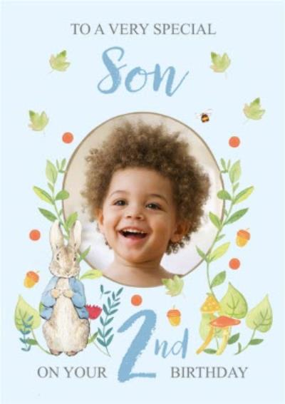 Peter Rabbit Very Special Son Floral 2nd Birthday Photo Upload Card