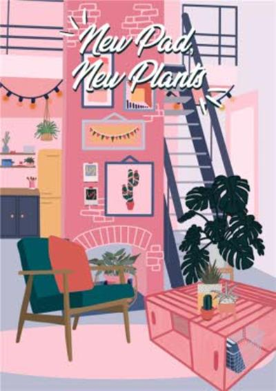 New Pad New Plants Illustration New Home Card