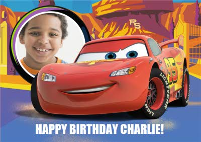 Disney Lightning Mcqueen Landscape Personalised Photo Upload Card