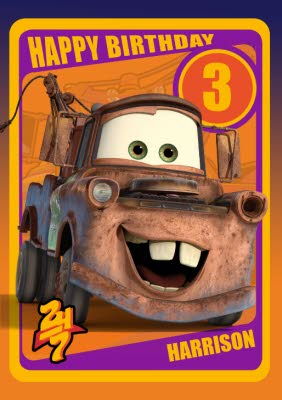 Disney Cars Mater Personalised Happy 3rd Birthday Card