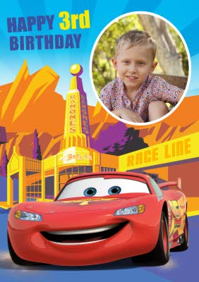 Cars Get To The Race Line Happy 3rd Birthday Photo Card