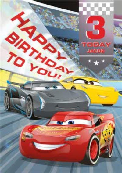 Cars Happy 3Rd Birthday Personalised Card