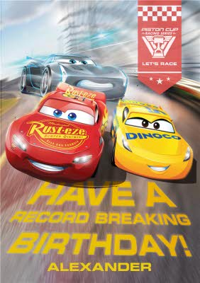 Cars Have A Record Breaking Personalised Birthday Card