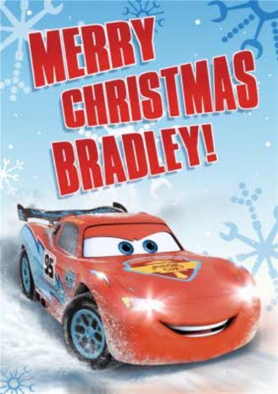 Disney Cars Lightning Mcqueen Snowflake Personalised Merry Christmas Card