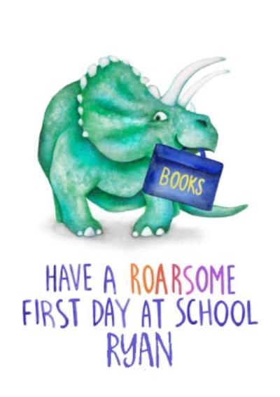 Cute Dinosaur Pun First Day At School Card