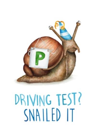 Citrus Bunn Cute Pun Funny Driving Test Passed Snailed It Nailed Well Done Card