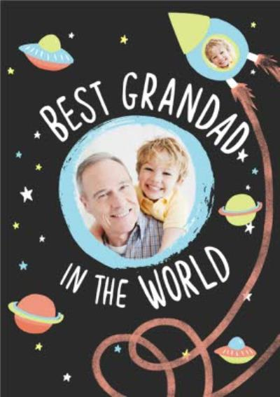Up In Space Best Grandad In The World Photo Card