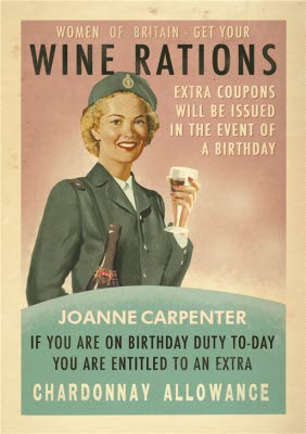 Retro Women Of Britain Get Your Wine Rations Personalised Birthday Card