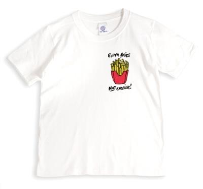 Extra Fries Not Exercise Funny White T-Shirt