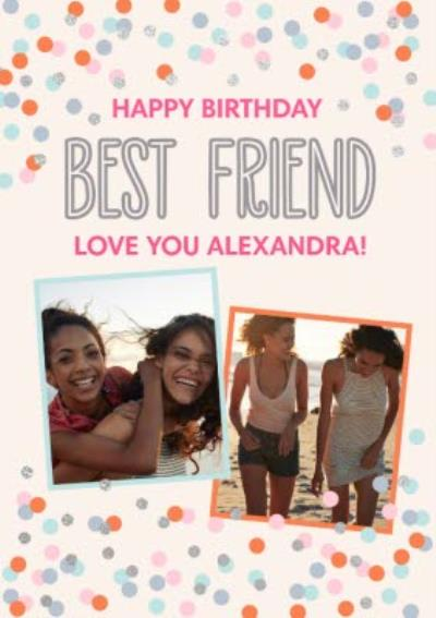 Confetti Cannon Photo Uplaod Best Friend Birthday Card