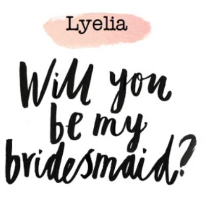 Pink Watercolour Personalised Will You Be My Bridesmaid Card