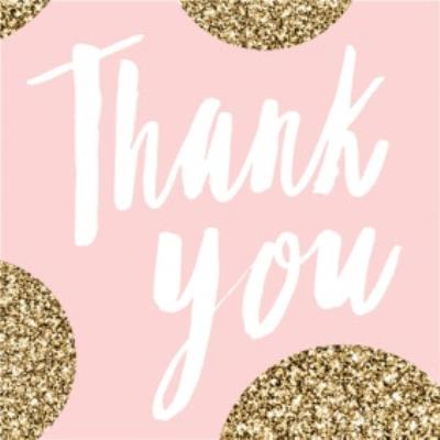 Pink And Glitter Square Personalised Thank You Card