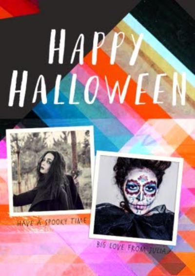 Neon Prisms Happy Halloween Photo Card