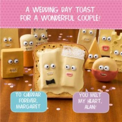 Cheese On Toast Funny Puns Personalised Wedding Day Card