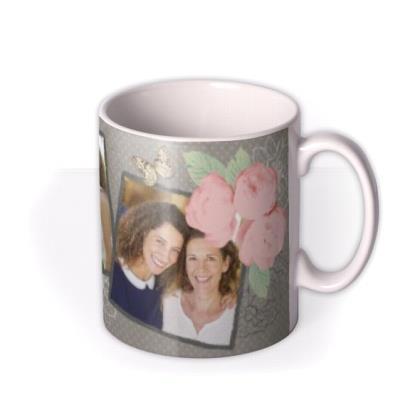 Happy Birthday Vintage Grey Photo Upload Mug