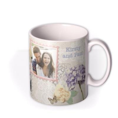Wedding Day Vintage Floral Photo Upload Mug