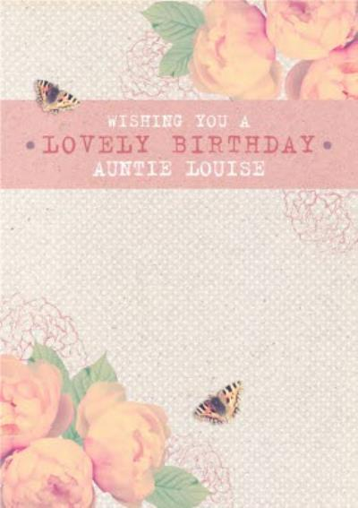 Pink Roses And Fluttering Butterflies Personalised Happy Birthday Card