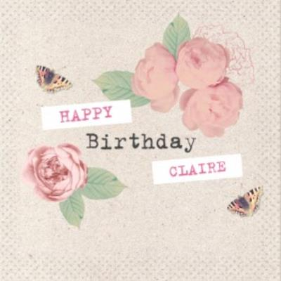 Roses And Butterflies Personalised Birthday Card